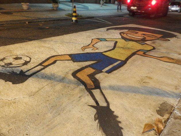 路上に描かれたネイマール。