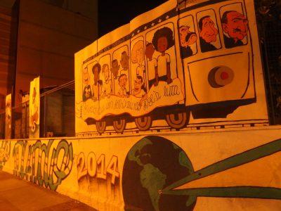 セレソン列車の壁画、夜