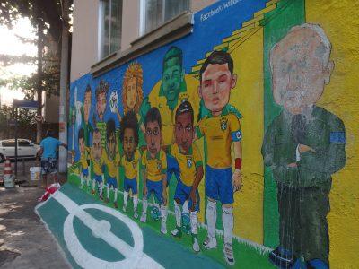 敗退後のセレソン集合壁画