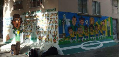 セレソンと地元の人々が描かれた傑作壁画。